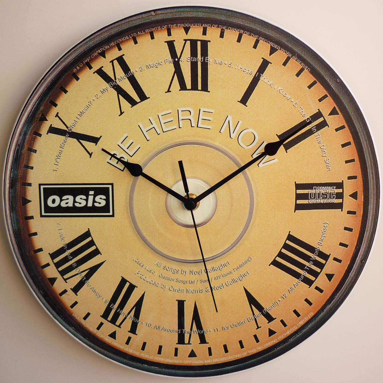 Oasis – Be Here Now CD Art – 12″ LP Vinyl Record Wall Clock | The ...