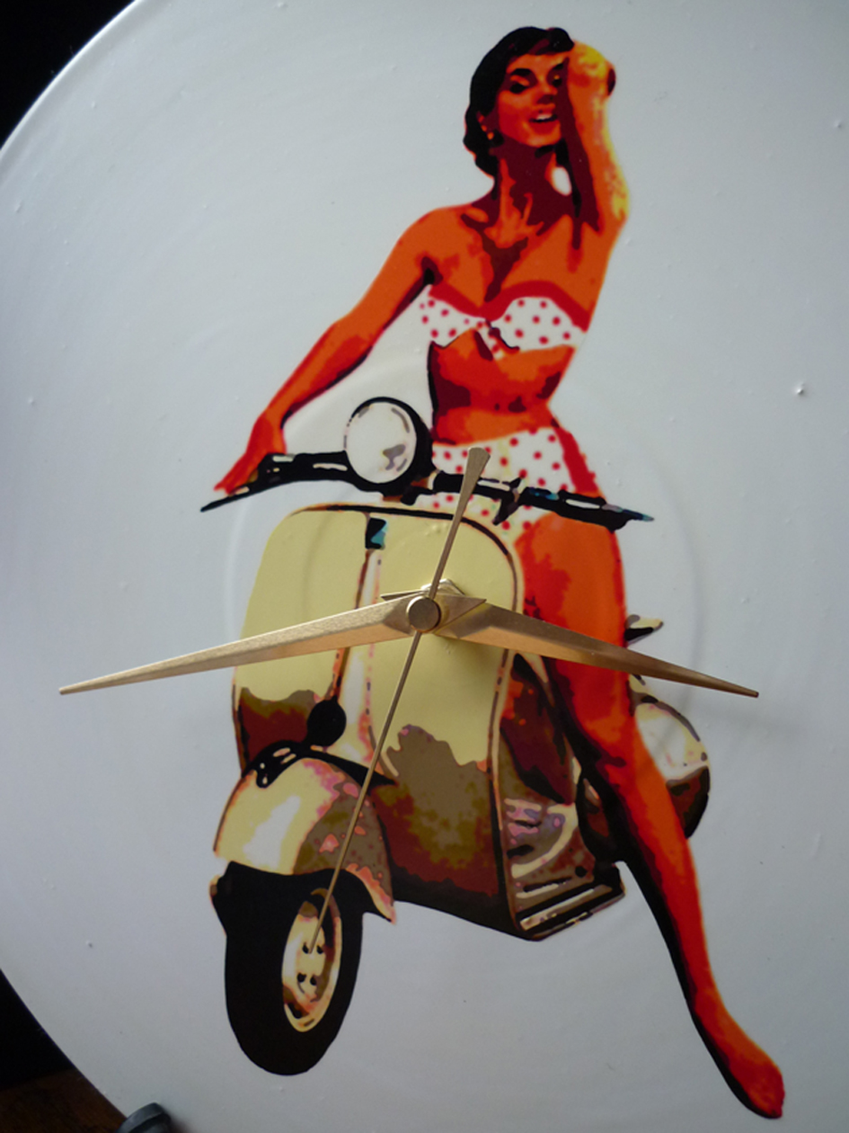 1955 Vespa Scooter And 50 S Girl Vinyl Record Wall Clock