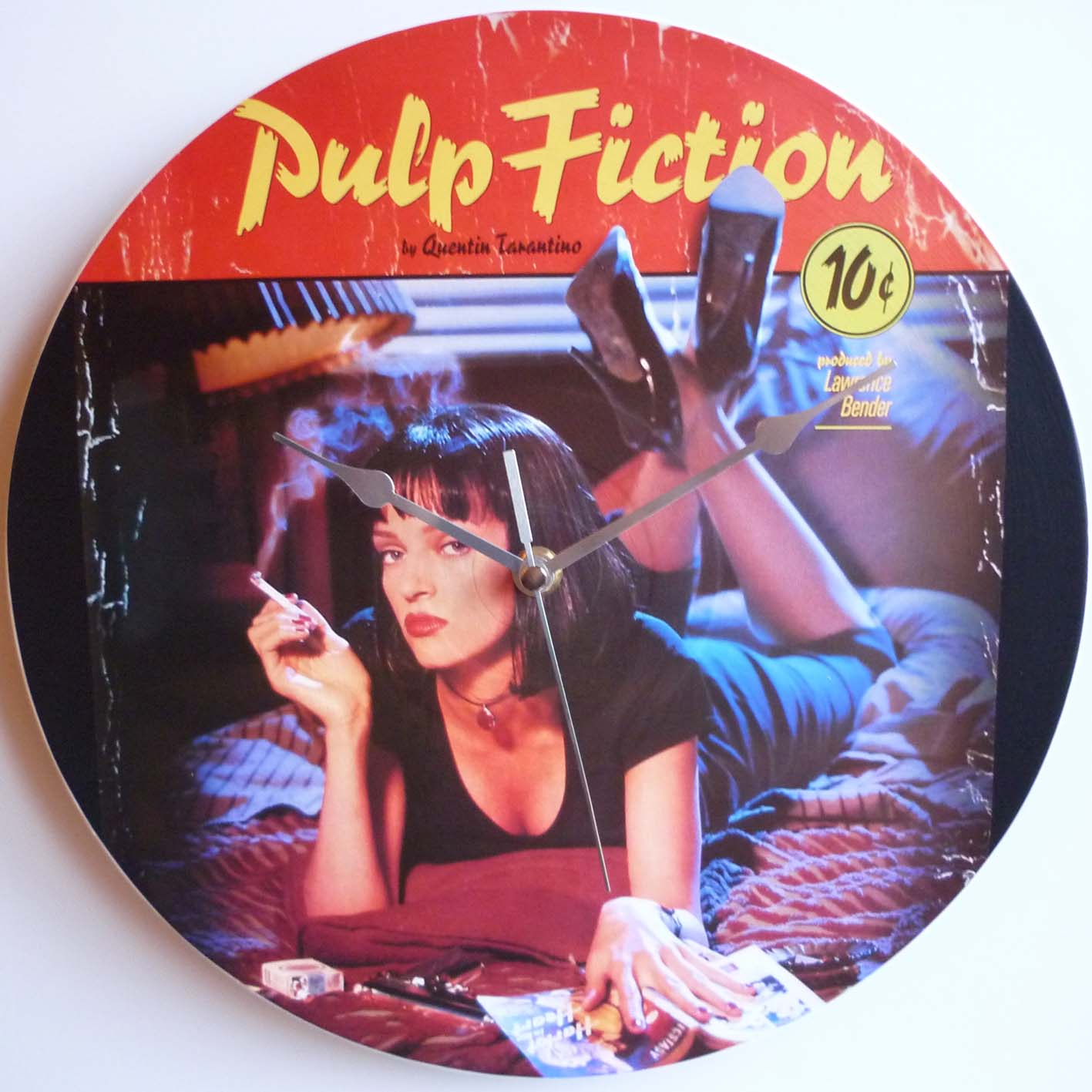 pulp fiction collection 1994 12 vinyl record wall clock the records ticking. Black Bedroom Furniture Sets. Home Design Ideas